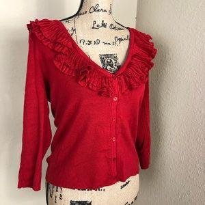 Talbots Red Ruffle V-neck Cardigan Sweater M
